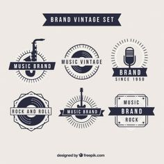 """Vintage Graphic Design A vintage style set of music themed logos. Perhaps I could look into """"stamp"""" design for inspiration, as to me, River City Sound Sessions has that rustic feel to it, which I think pairs nicely with vintage logos. 1950 Music, Vintage Music, Vintage Style, Musician Logo, Music Logo Inspiration, Retro Logos, Vintage Logos, Vintage Graphic, Music Festival Logos"""