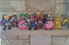 New Super Smash Bros set, based on N64 game. For sale now! :) https://www.etsy.com/listing/249084868/n64-super-smash-bros-perler-bead-sprites