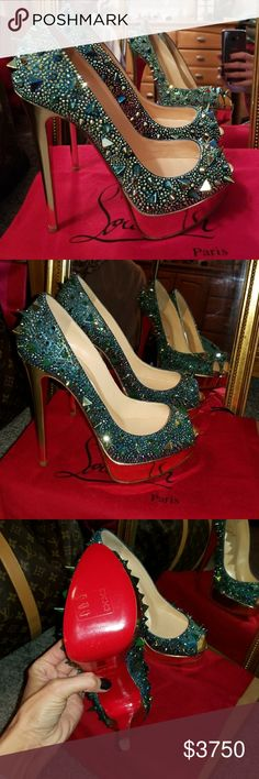Christian louboutin potpourri 150mm strass Authentic Christian louboutin potpourri 150mm swarovski strass heels. Brand new never worn! Size 37.5 . These are aqua blue and gold! Gorgeous! I will not cave on price!! NO OFFERS NO TRADES! buy with confidence posh concierge will approve! 😗😗😗 Christian Louboutin Shoes Heels