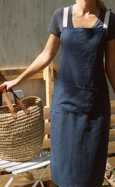 Full Japanese Style Linen Apron by RetroHome on Etsy