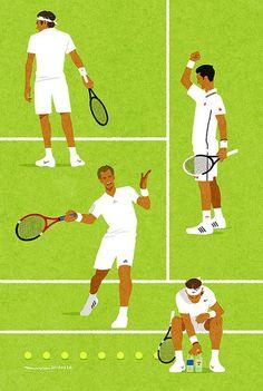 Roger Federer, Novak Djokovic, Andy Murray, Rafa Nadal @JugamosTenis Wimbledon 2014