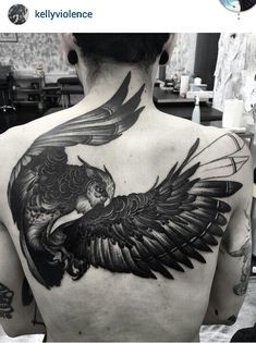 Unfinished black and gray owl tattoo by Kelly Violet