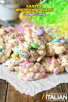 White Chocolate Easter Crockpot Candy Clusters are a simple, impressive 3-ingredient homemade Easter candy that everyone will be raving about! An easy recipe that you layer in the slow cooker, stir and scoop!!