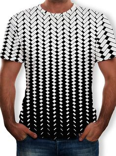 Rikay Mens Crew Neck Geometric Print T Shirt Psychedelic Printed Tshirts Short Sleeve Tees Gift for Mens Boys Jackets-Gilets Sets Clothing Shirts-Polos