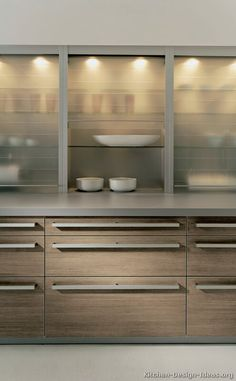Glass Hafele tambour uppers  Modern Light Wood Kitchen Cabinets  #03 (Alno.com, Kitchen-Design-Ideas.org)