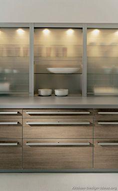 Glass Hafele tambour uppers Modern Light Wood Kitchen Cabinets #03 (Alno.com, Kitchen-Design-Ideas.org)