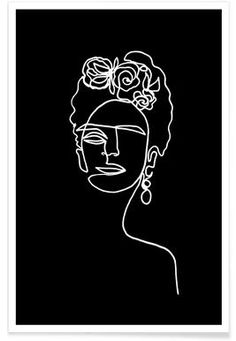 Frida Kahlo Line Drawing Poster Frida Kahlo BW girl portrait Kahlo Paintings, Easy Paintings, Fridah Kahlo, Frida Kahlo Portraits, Frida Kahlo Tattoos, Acrylic Portrait Painting, Encaustic Painting, Castle Tattoo, Frida Art
