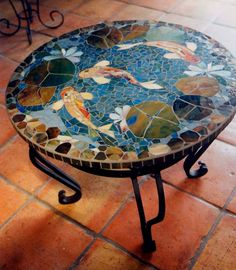 MOSAIC TABLE - koi fish ART - stained glass mosaic art - round indoor or outdoor end side table top or patio mural Table Mosaic, Mosaic Glass, Mosaic Tiles, Mosaic Wall, Mosaic Floors, Kitchen Mosaic, Mosaic Backsplash, Mosaic Mirrors, Wall Mirror