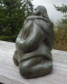 Inuit Eskimo Art Soapstone Carving Sileema Tunnillie: WOMAN: 7X5X4. Cape Dorset