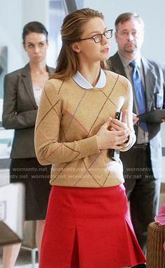 Kara's camel argyle sweater on Supergirl.  Outfit Details: https://wornontv.net/55982/ #Supergirl