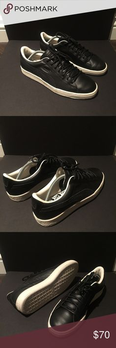 ef8ab07a171d Black and white mens Leather puma worn once FITS LIKE A 9.5 Puma Shoes  Sneakers Pumas