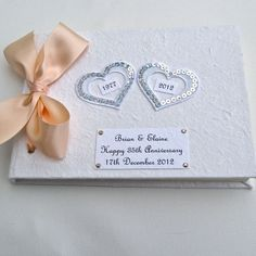 Personalised Coral (35th) Wedding Anniversary Hearts Guest Book