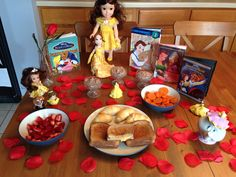 Beauty and the Beast Dinner - Belle's Croque Monsieur Sandwiches, Chip's Carrots, The Beast's Rose Petals (strawberries), Cogsworth's Croissants, Lumiere's Grey Stuff and Mrs. Potts' Popcorn - Beauty and the Beast Movie Night - Disney Movie Night - Family Movie Night