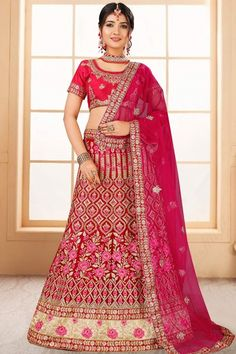 Red velvet semi stitch lehenga with red banglori silk choli. This lehenga choli is embellished with zari, stone, sequins and dori .Product are available in 32 to 58 sizes. It is perfect for Bridal Wear,Party Wear, Wedding Wear. #red #bridal #lehenga #choli# Andaazfashion #USA New Lehenga, Lehenga Dupatta, Lehenga Skirt, Bridal Lehenga Online, Indian Bridal Lehenga, Cheap Wedding Dress, Wedding Wear, Wedding Outfits, Indian Ethnic Wear