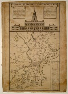 A hand-drawn map of the city of Philadelphia and surrounding areas. At the top of the map is a large drawing of Independence Hall. Independence Hall, Today In History, American Revolutionary War, Brotherly Love, Old Maps, World Cities, Vintage Maps, Historical Maps, Map Art