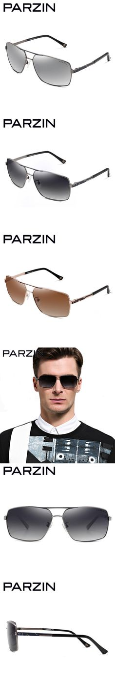 Parzin Polarized Sunglasses Men Rectangle Metal Male Sun Glasses  Driving Glasses Summer Shades Gold With Case  8100