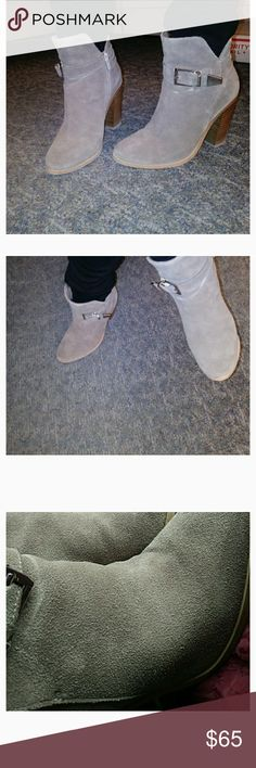 STEVE MADDEN Suede Taupe Booties 6.5 Excellent condition, worn maybe 5 times. Very comfy, I just don't get much wear out of them!!! Steve Madden Shoes Ankle Boots & Booties