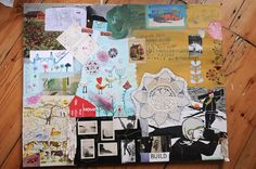 """Great Family Art project from Amanda:  """"A big blank canvas + paper + glue + stitching + poetry + paint + drawing + room for everyone + layers upon layers of family art = a most wonderful day."""""""