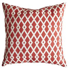 Swan Fabrics 105-Pomegranate-17 Graphic Fret Throw Pillow, Pomegranate