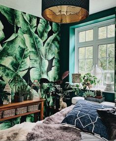 Bedroom GOALS right here! We're a little bit in love with green interiors right now can you tell? 😉 The love just keeps on growing when we come across little customer gems like this one. It's bold, it's maximalist and it's just the kind of interior inspo you guys love! Shop the look at Wallsauce.com! 📷 @living_atnumberone @danisdomain #bedroomdecor #bedroominspo Bedroom Inspo, Bedroom Decor, A N Wallpaper, Tropical Wallpaper, Tropical Bedrooms, Beautiful Bedrooms, Home Decor Styles, Around The Worlds, Tapestry