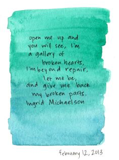 Be OK- Ingrid Michaelson. Gretchen loves this song. ;)