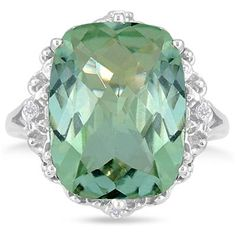 8.50 Carat All Natural Cushion Cut Green Amethyst and Diamond Ring in .925 Sterling Silver