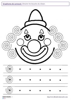 Clown Crafts, Carnival Crafts, Pre Writing, Writing Skills, Preschool Worksheets, Preschool Activities, Decoration Cirque, Theme Carnaval, Le Clown