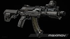 ArtStation - MAXIMOV AK-47, Daniel Kenton Sci Fi Weapons, Weapon Concept Art, Weapons Guns, Fantasy Weapons, Future Weapons, Submachine Gun, Military Guns, Assault Rifle, Cool Guns