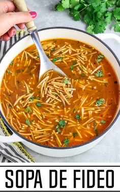 This Sopa de Fideo is pure comfort in a bowl! It's filled with savory flavor from toasted fideo and a tomato-based broth. It cooks up in less than 30 minutes and it calls for simple pantry staples. You'll want to make it all year round! Vegan Dinner Recipes, Vegan Dinners, Gourmet Recipes, Mexican Food Recipes, Cooking Recipes, Healthy Recipes, Ethnic Recipes, Cooking Tips, Chili Recipes
