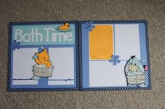 So, I made this Winnie The Pooh scrapbook for my cousin who is expecting her first baby. She is going with a Winnie theme and I thought thi. Baby Boy Scrapbook, Disney Scrapbook Pages, Scrapbook Sketches, Scrapbooking Layouts, Scrapbook Cards, Baby Mini Album, Disney And More, Pooh Bear, Creative Memories