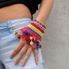 Beaded Crochet Cuff | ... Beadwork bracelet Cuff Beaded Free form crochet bracelet cuff via Etsy