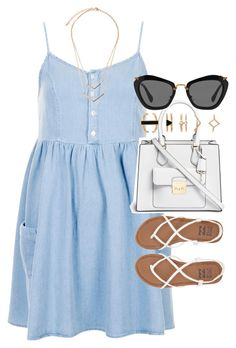 """Outfit for summer with a light blue dress and white sandals"" by ferned on Polyvore featuring Topshop, Michael Kors, Forever 21, Billabong and Miu Miu"