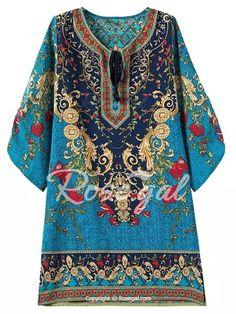 Vintage V-Neck 3/4 Sleeve Full Print Dress For Women
