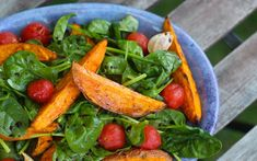 Roasted Sweet Potato, Spinach, and Tomato Toss.