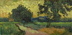 Vincent van Gogh - Landscape at Twilight [1890]   [Van Gogh Museum, Amsterdam - Oil on canvas, 50.2 x 101 cm]