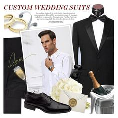 """""""Custom Wedding Suits on Etsy!"""" by vn1ta ❤ liked on Polyvore featuring DKNY, Giorgio Armani, Johnston & Murphy, men's fashion and menswear"""