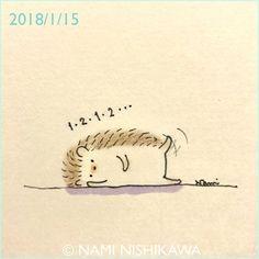 1383 いち、に、いち、に exercise #illustration #polarbear #イラスト #ハリネズミ #なみはりねずみ