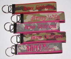 Army Girlfriend Key Fob Red or Pink ACU or Multicam by MadebyJadeF, $9.99
