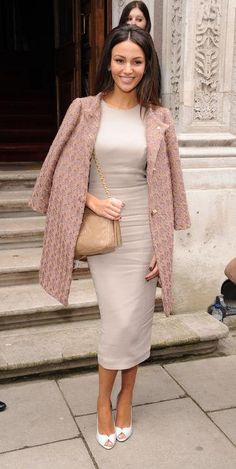 Michelle Keegan in a dusty rose cocktail dress and textured coat