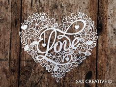 50% Off SALE Papercut Template 'LOVE' Valentine's by SASCreative