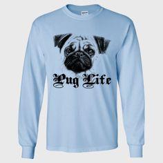 pug long sleeve t shirt , funny dog shirt