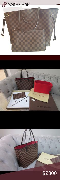 Authentic Louis Vuitton MM Neverfull 100% authentic guaranteed or your money back! Will be shipped with all original accessories and packaging including original LV dustbag and box also. Lower pricing available - inquire privately please for any offers thank you. Louis Vuitton Bags Satchels