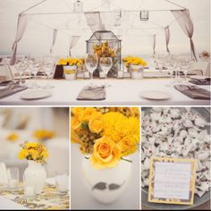 Yellow and gray wedding colors  http://stephaniewilliamsphotography.com/blog/tag/yellow-and-gray-wedding/