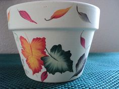 Hand painted Flower Pot~ Fall / Autumn Leaf Design ~ 2 Available~ Garden…