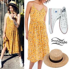 Acacia Brinley posted some pictures on twitter today wearing an UO Kimchi Blue Cindy Ladder Lace Midi Dress ($89.00), the Lack of Color The Spencer Boater Straw Hat ($59.00) and a pair of Converse Chuck Taylor All Star Classic Hi-Sneakers ($55.00).