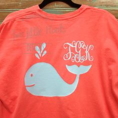 Whale Monograms!!!!!!!!      See photo #3 for shirt color choices(list your shirt color choice in a message when you checkout)    We use