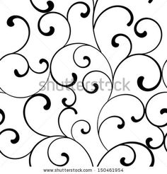 Seamless pattern with black swirls on a white background by Iryna Omelchak, via Shutterstock Scroll Pattern, Swirl Pattern, Pattern Design, Royal Icing Templates, Royal Icing Transfers, Piping Templates, Filigree Design, Swirl Design, Web Design