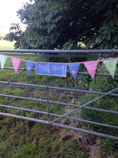 Bunting on the gates #wedding #homemade #bunting