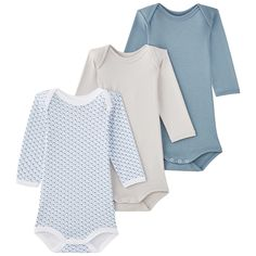 Petit Bateau - Pack of 3 onesies with an envelope neck