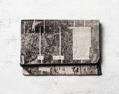 Black Fold Over Clutch, Hand Screen Printed. One of a kind Holiday Gift. $57.00, via Etsy.